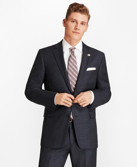 Regent Fit Open Plaid 1818 Suit Blue