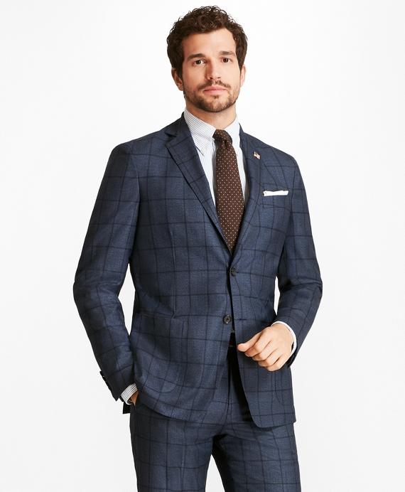 Regent Fit BrooksCloud™ Windowpane 1818 Suit Blue