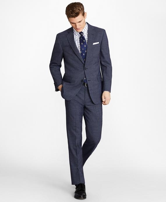 Regent Fit BrooksCool® Subtle Plaid Suit Navy