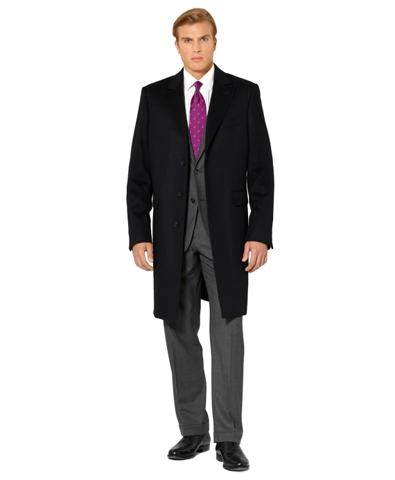 Wool and Cashmere Classic Overcoat Navy