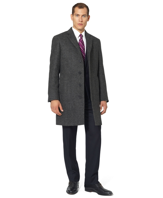 Saxxon Wool Herringbone Double-Faced Regent Fit Overcoat Brown