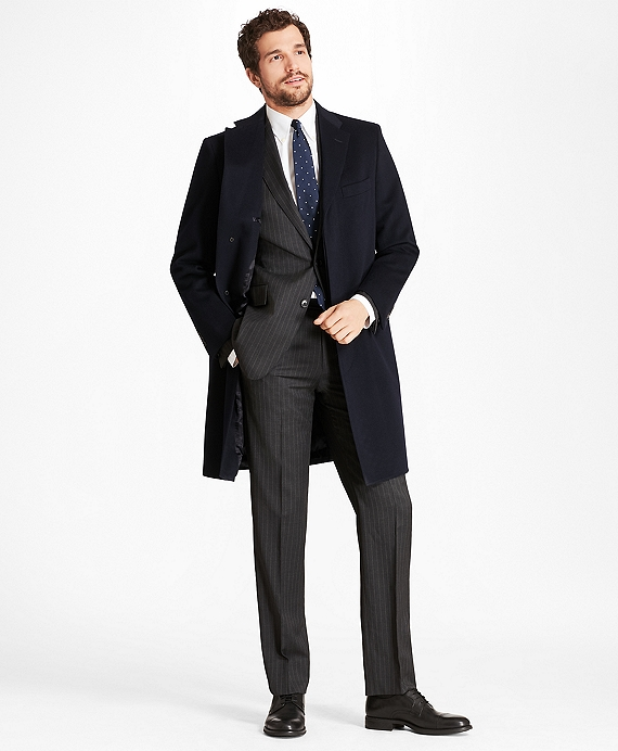 Golden Fleece® BrooksStorm® Westbury Cashmere Overcoat Navy