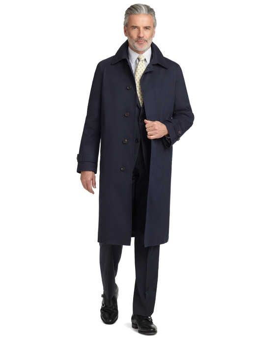 BrooksStorm® Single-Breasted Long Trench Coat Navy