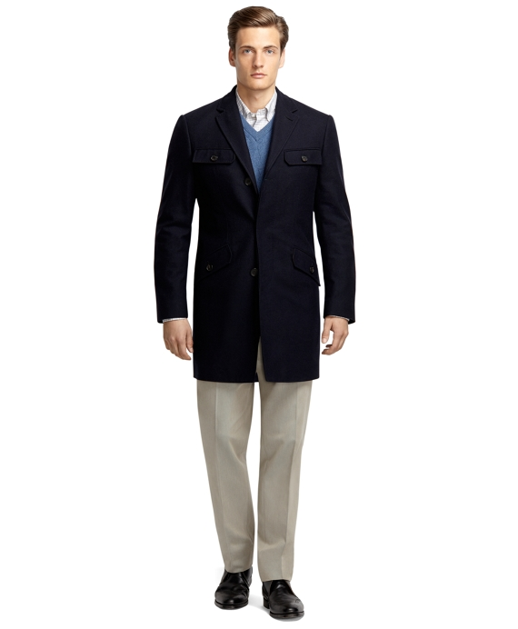 Cashmere and Wool Car Coat Navy