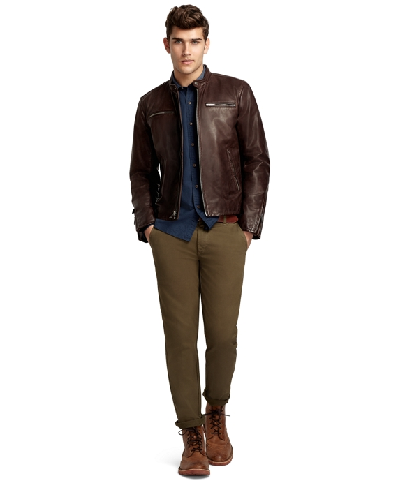 Leather Motorcycle Jacket Brown