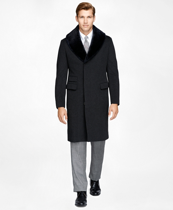Shearling Collar Chesterfield Coat Charcoal
