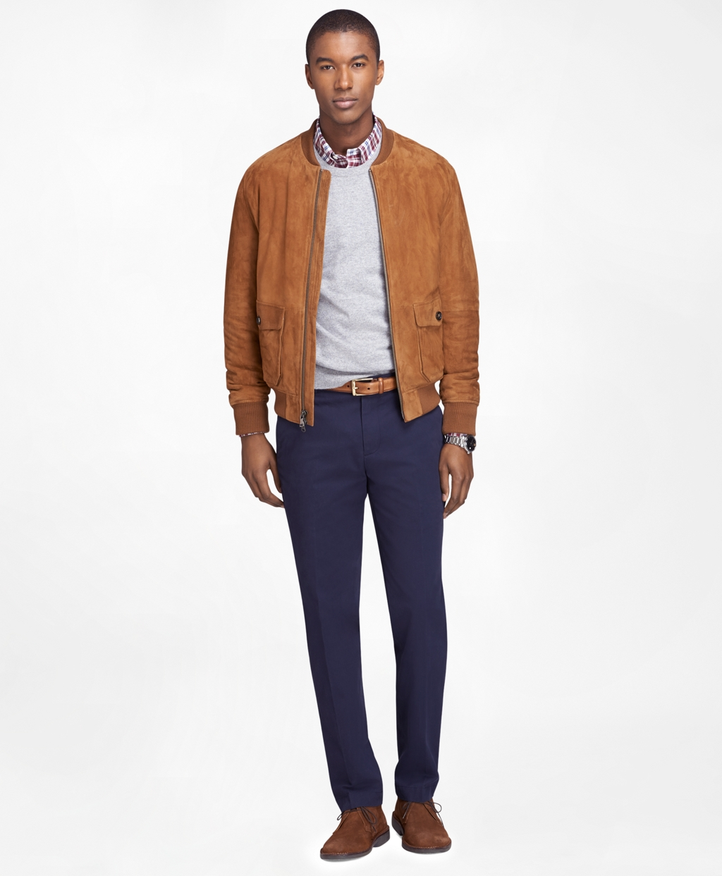 Men's Brown Suede Bomber Jacket | Brooks Brothers
