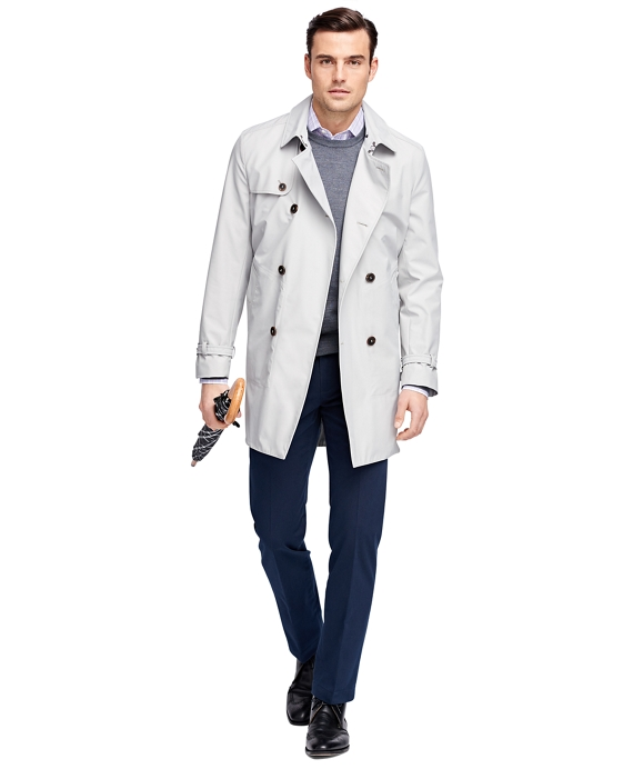 Double-Breasted Short Trench Coat Stone