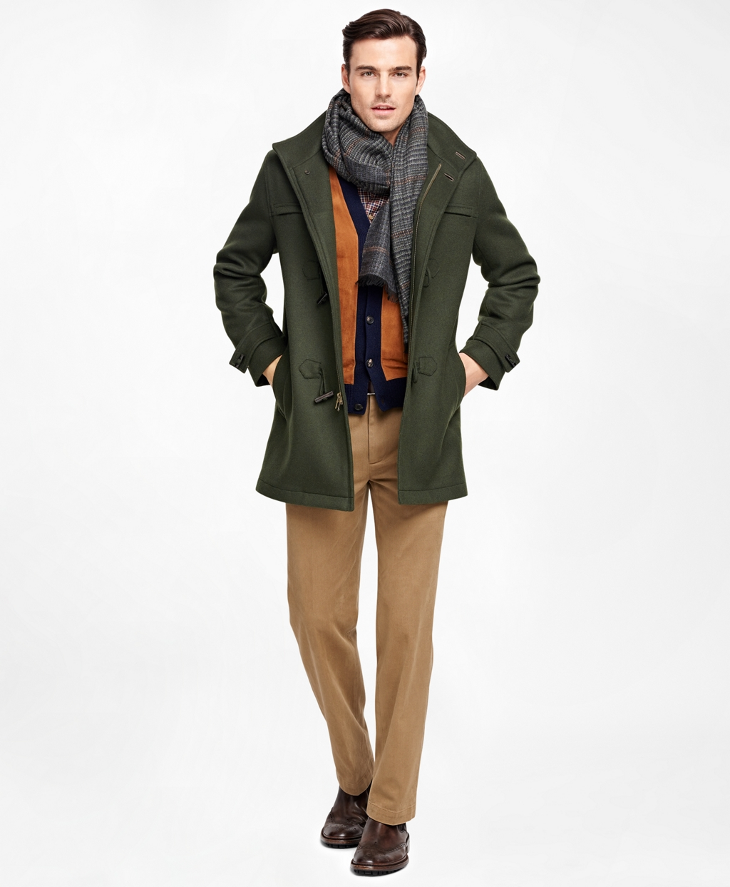 Men's Dark Green Duffle Coat | Brooks Brothers