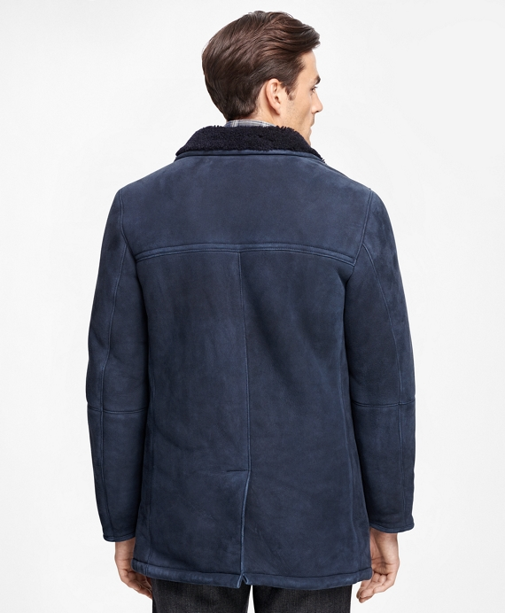 Men&39s Navy Shearling Button-Front Coat | Brooks Brothers