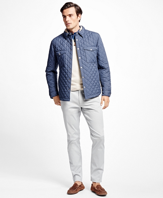 Lightweight Quilted Shirt Jacket Navy
