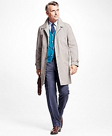Single-Breasted Mini Check Trench Coat