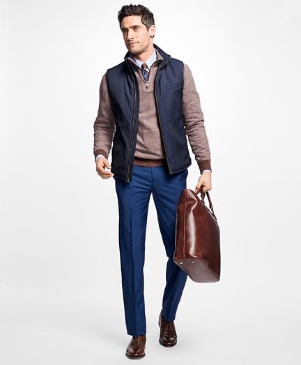 Leather Trimmed Jacquard Vest