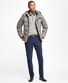 Wool Puffer Jacket with Removable Hood