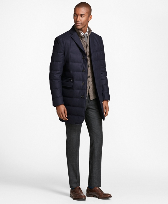 Technical Wool Down-Filled Trench Navy