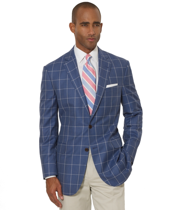 Madison Fit Windowpane Sport Coat Light Blue