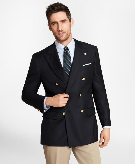 Country Club Saxxon Wool Double-Breasted Blazer Navy