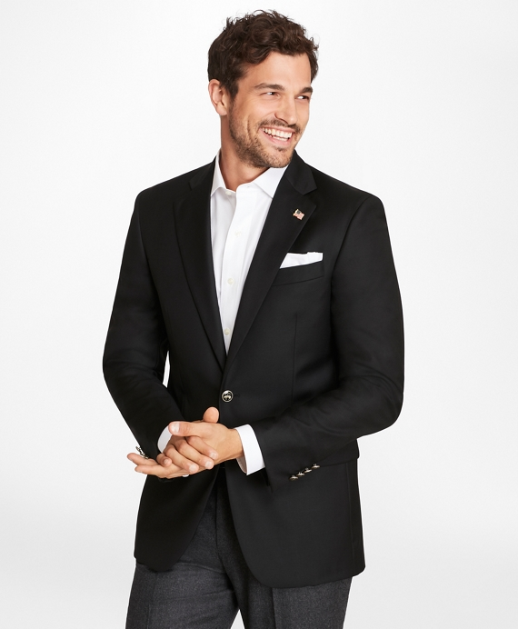 Country Club Saxxon® Wool Two-Button Blazer Black