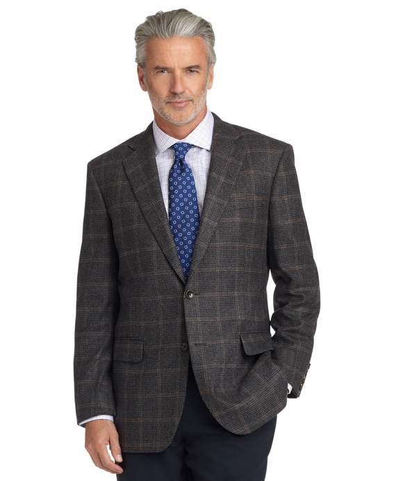 Madison Fit Grey Check with Brown Deco Sport Coat Grey
