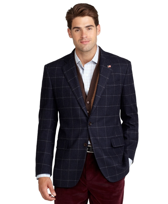 Regent Fit Saxxon Wool Windowpane Sport Coat Blue