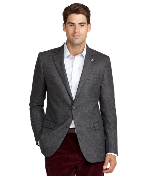 Fitzgerald Fit Saxxon Wool Windowpane Sport Coat Grey