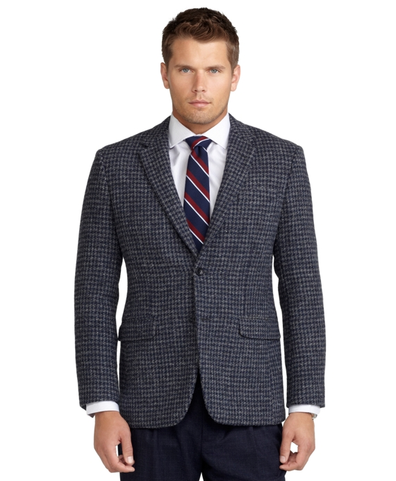 Milano Fit Harris Tweed Houndstooth Sport Coat Blue-Grey