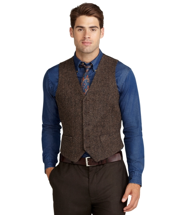 Harris Tweed Herringbone Vest Brown