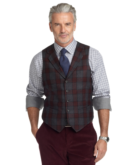 Plaid Vest Charcoal-Maroon
