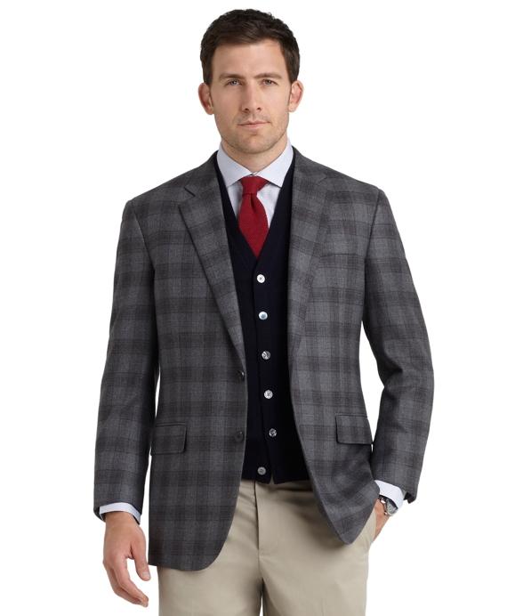 Madison Fit Plaid Sport Coat Grey