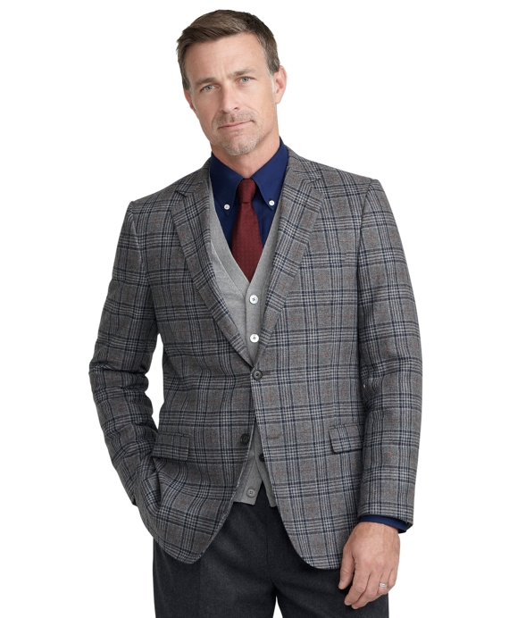 Fitzgerald Fit Large Plaid with Red Deco Sport Coat Grey