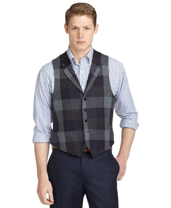 Buffalo Check Vest Navy