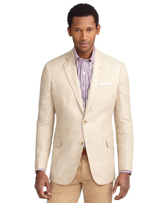 Regent Fit Two-Button Linen Sport Coat Tan