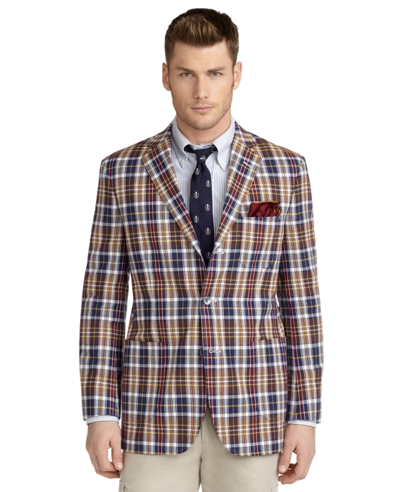 Madison Fit Vintage Madras Sport Coat Blue Multi