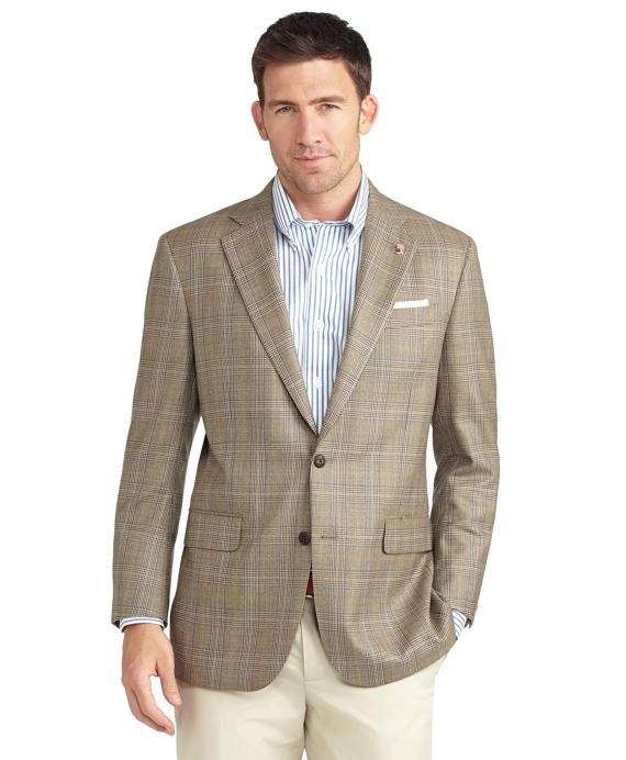 Madison Fit Two-Button Saxxon Wool Plaid Windowpane Sport Coat Tan