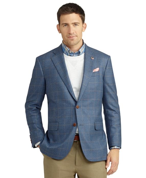 Madison Fit Two-Button Saxxon Wool Windowpane Sport Coat Blue