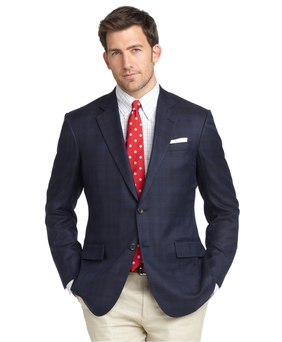 Madison Fit Plaid Sport Coat Navy