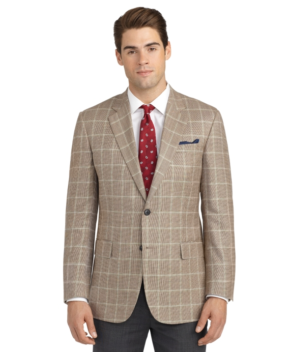 Madison Fit Hairline Deco Sport Coat Tan-Blue