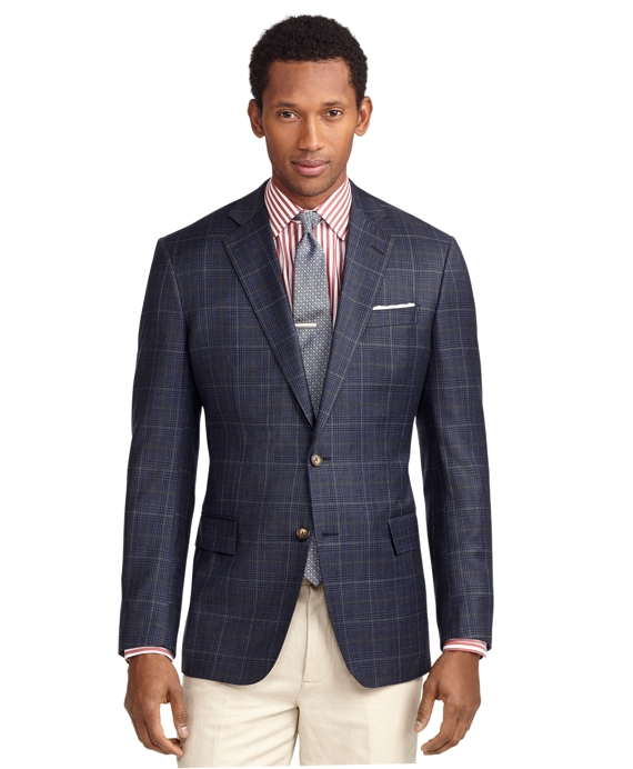 Regent Fit Two-Button Plaid Deco Sport Coat Blue