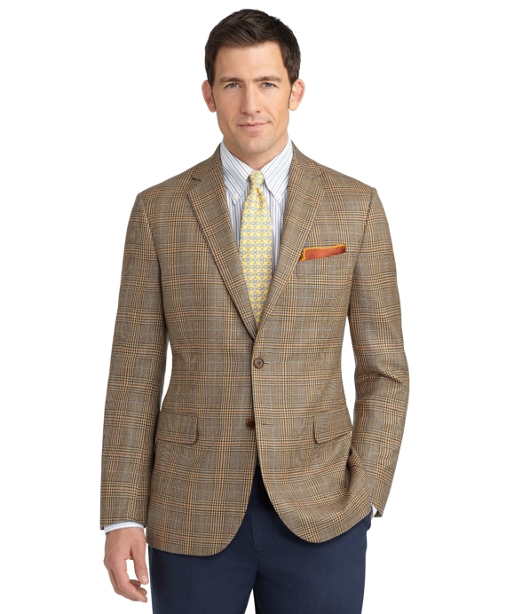 Madison Fit Plaid Deco Sport Coat Tan-Blue