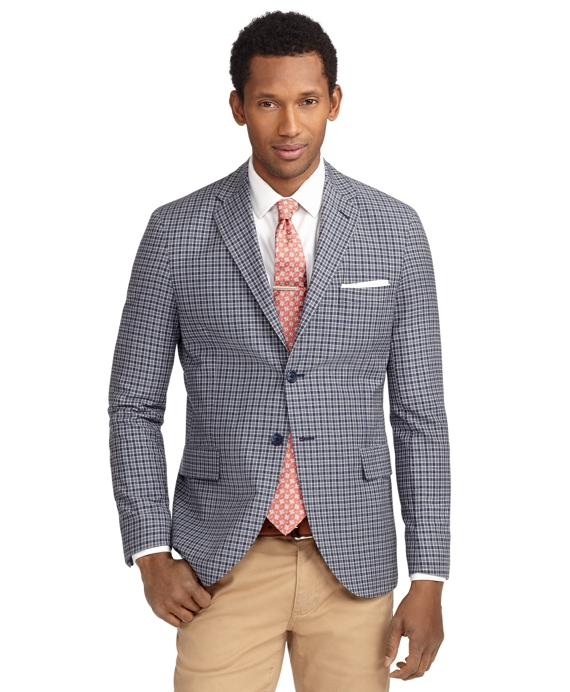 Milano Fit Two-Button Check Sport Coat Blue