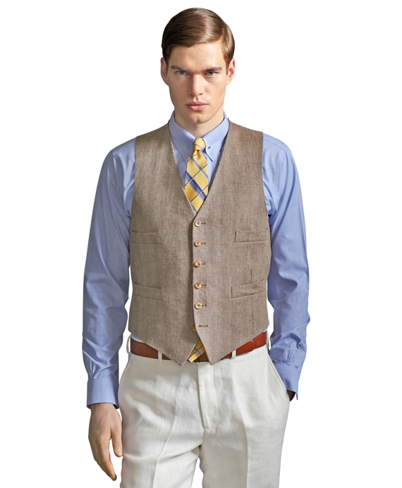 The Great Gatsby Collection Light Brown Linen Vest Light Brown