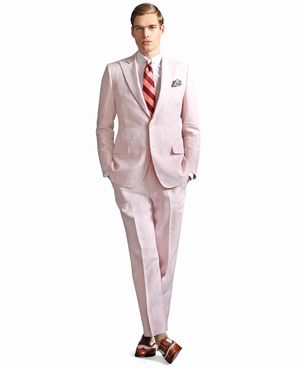 Grey Suit Pink Tie Brown Shoes