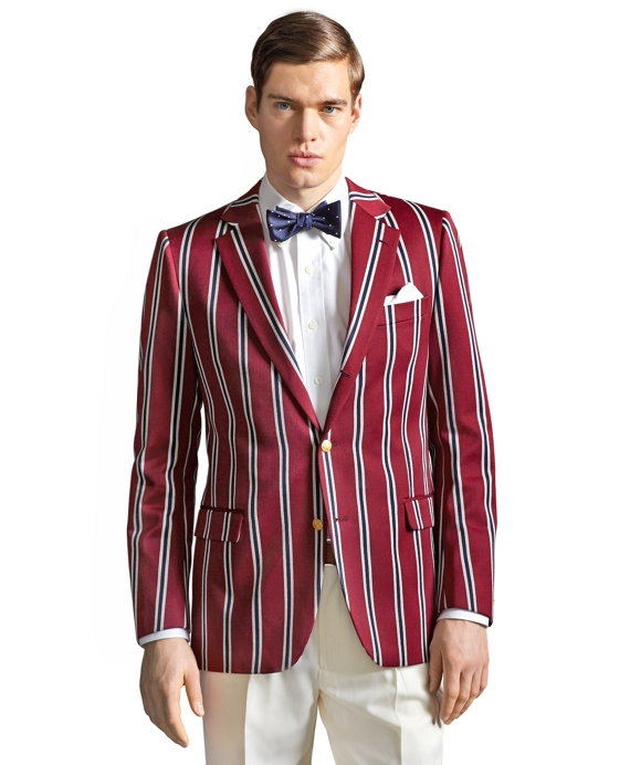 The Great Gatsby Collection Burgundy Stripe Regatta Blazer Burgundy