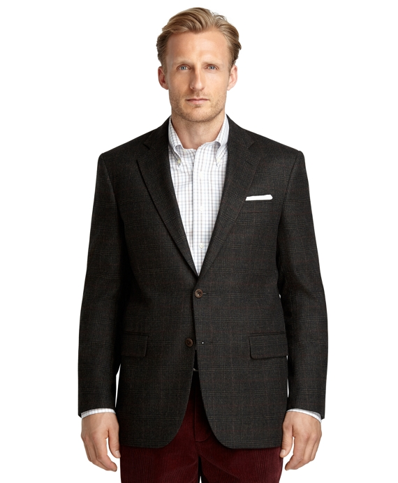 Madison Fit Plaid Red Deco Saxxon Wool Sport Coat Olive