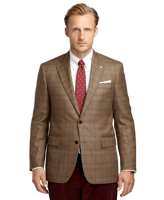 Madison Fit Plaid Deco Saxxon Wool Sport Coat Tan