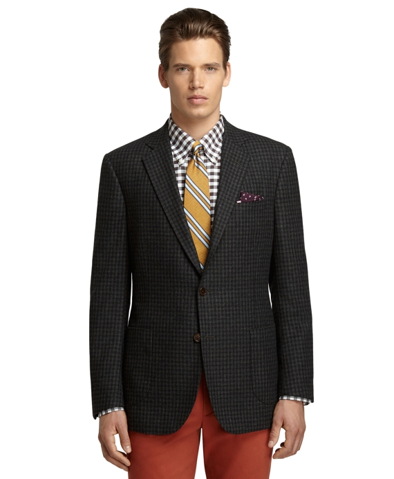 Regent Fit Grey Check Sport Coat Dark Green