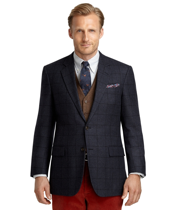 Madison Fit Windowpane Sport Coat Dark Blue
