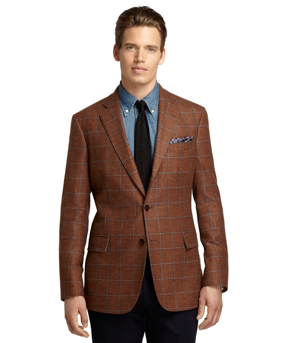 Regent Fit Windowpane Sport Coat Rust