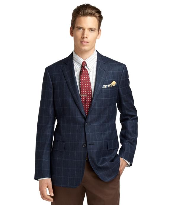 Regent Fit Herringbone Windowpane Sport Coat Blue