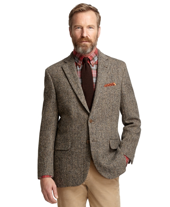 Madison Fit Harris Tweed Herringbone Sport Coat Ivory-Black